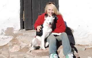 Heather on the farm with Border Collie Blue low res2