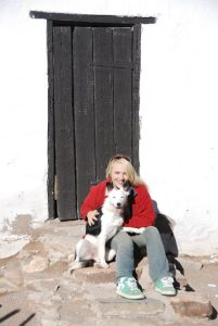 Heather on the farm with Border Collie Blue low res